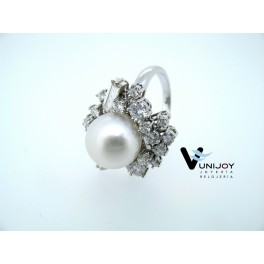 Sortija perla diamantes
